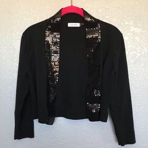 Calvin Klein Open Bolero Sweater Sequin Lapel S